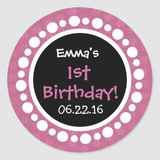 Pink Flowers and Polka Dots 1st Birthday Party Stickers