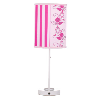 Pink Flowers and Stripes Desk Lamp