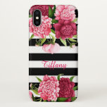 """Pink Flowers and Stripes iPhone X Case<br><div class=""""desc"""">Chic iPhone X case done in a black and white horizontal pattern,  with pretty pink flowers along the top and bottom of the case.  Personalize the name,  in the middle of the case to read what you want.  Chose between iPhone X or the iPhone 7/8 models.</div>"""