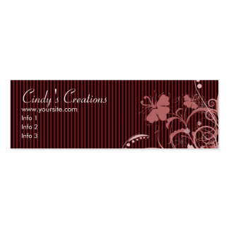 Pink Flowers and Stripes Mini Business Card