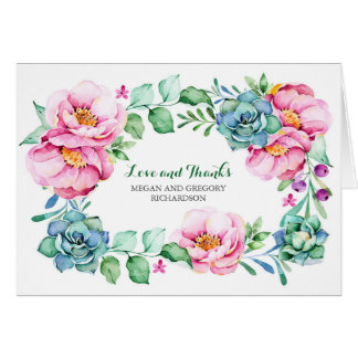 pink flowers and succulents elegant thank you card