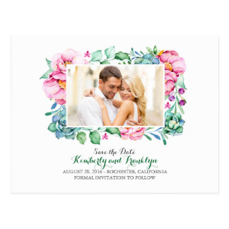 pink flowers and succulents photo save the date postcard