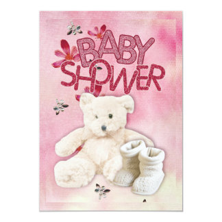 "Pink Flowers and Teddybear Babyshower Invitation 5"" X 7"" Invitation Card"