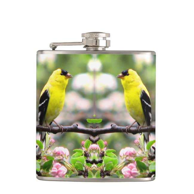 Pink Flowers and Yellow Goldfinch Birds Flask