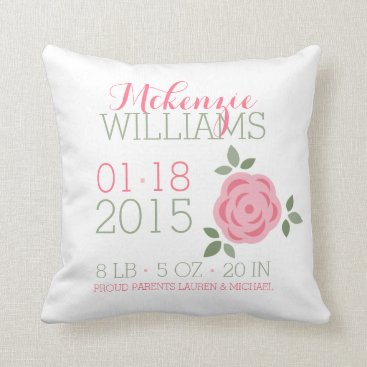 heartlocked Pink Flowers Baby Birth Announcement Throw Pillow