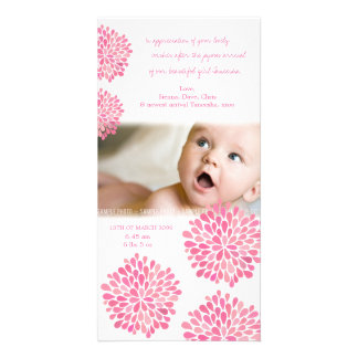 Pink Flowers Baby Birth Thank You Photo Card