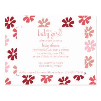 Pink Flowers Baby Shower Invitation Postcard
