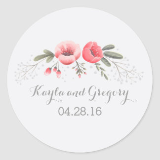 Pink Flowers Baby's Breath Wedding Classic Round Sticker