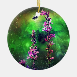 Pink Flowers & Bee Against The World Ceramic Ornament