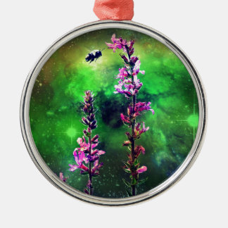 Pink Flowers & Bee Against The World Metal Ornament