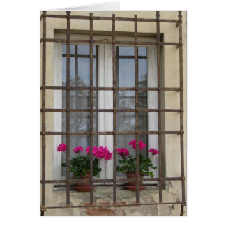 Pink Flowers Behind Iron Bars Cards