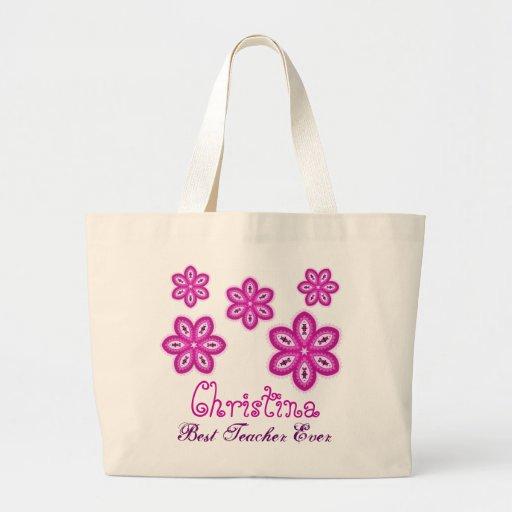 Pink Flowers Best Teacher Ever Custom Name Tote Bags