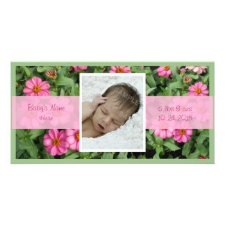 Pink Flowers Birth Announcement Personalized Photo Card