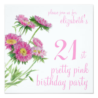 Pink Flowers Birthday Invitation