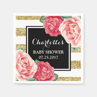 Pink Flowers Black Gold Stripes Baby Shower Napkin