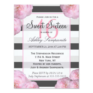 Pink Flowers & Black, Gray, & White Stripes Card
