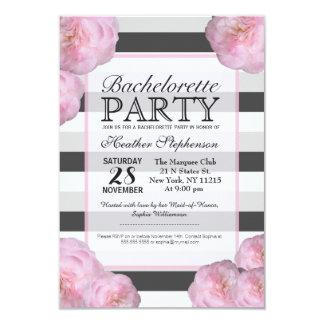Pink Flowers & Black, Gray, & White Stripes Card