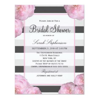 Pink Flowers & Black, Gray, & White Stripes 4.25x5.5 Paper Invitation Card