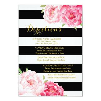 Pink Flowers Black Stripe Wedding Direction Insert Card