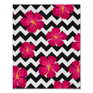 Pink Flowers Black White Chevron Pattern Design Poster