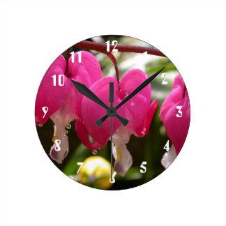 Pink Flowers Bleeding Heart Wall Clock