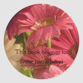 Pink flowers bookplate classic round sticker
