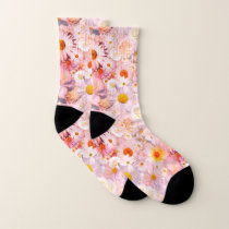 Pink Flowers Bouquet Floral Wedding Bridal Spring Socks