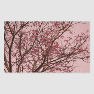 Pink Flowers Branch Rectangular Sticker