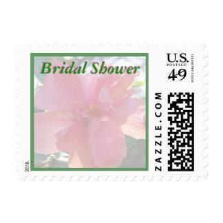 Pink Flowers Bridal Shower Stamps