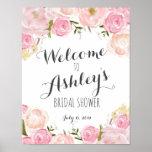 """Pink flowers Bridal shower welcome sign<br><div class=""""desc"""">Pink flowers Bridal shower welcome sign</div>"""
