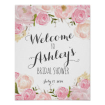 Pink flowers Bridal shower welcome sign
