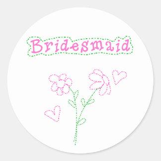 Pink Flowers Bridesmaid Classic Round Sticker