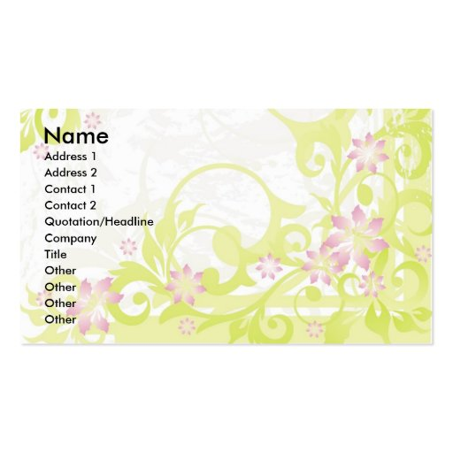 pink flowers business cards