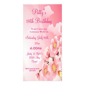 Pink Flowers & Butterflies Birthday Photo Greeting Card