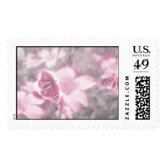Pink Flowers & Butterflies Postage Stamp