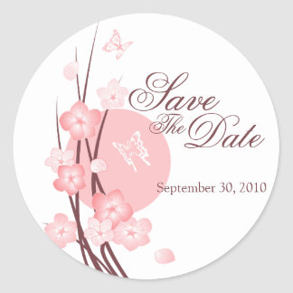 Pink Flowers Butterfly Save The Date Announcement Classic Round Sticker
