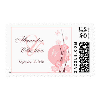 Pink Flowers Butterfly Save the Date Announcement Postage