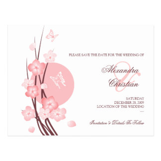 Pink Flowers Butterfly Save the Date Announcement Postcards