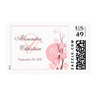 Pink Flowers Butterfly Save the Date Announcement Stamp