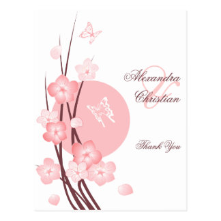 Pink Flowers Butterfly Thank You Post Cards
