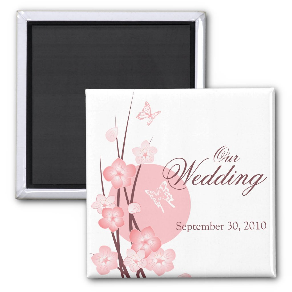 Pink Flowers Butterfly Wedding Announcement Refrigerator Magnets