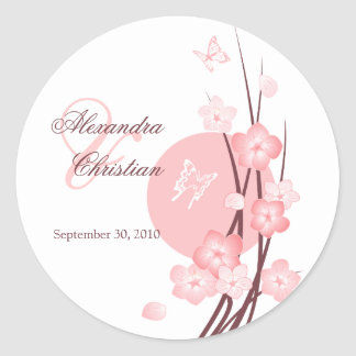 Pink Flowers Butterfly Wedding Announcement Classic Round Sticker