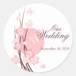 Pink Flowers Butterfly Wedding Announcement Sticker