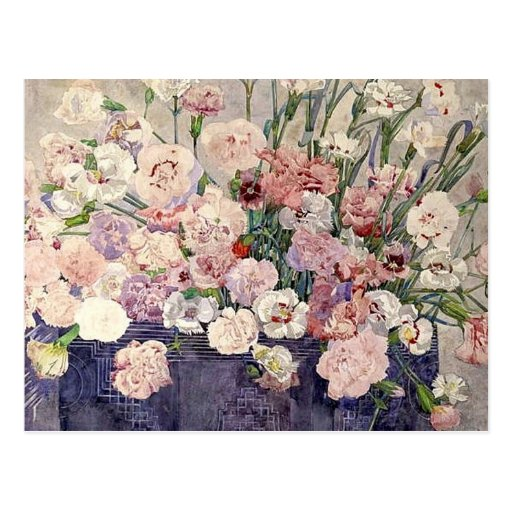 Pink Flowers by Mackintosh - Postcard