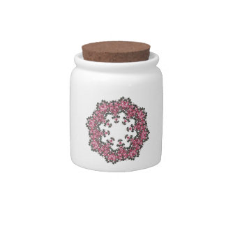 Pink Flowers Candy Jar