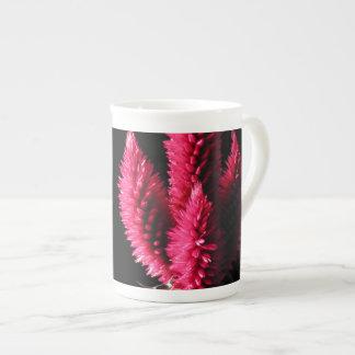 Pink Flowers Celosia Caracas Cockscombs Bone China Mug