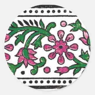 pink-flowers classic round sticker