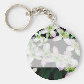 Pink flowers. Clematis. Keychains