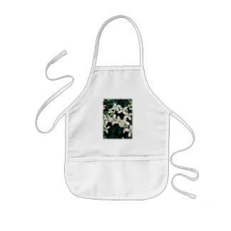 Pink flowers. Clematis. On White. Kids' Apron