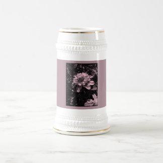 Pink flowers. Clematis. Stylish design. Beer Stein